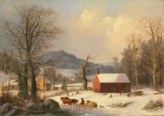 Durrie, George Henry: Red School House. Fine Art Print/Poster (5357)